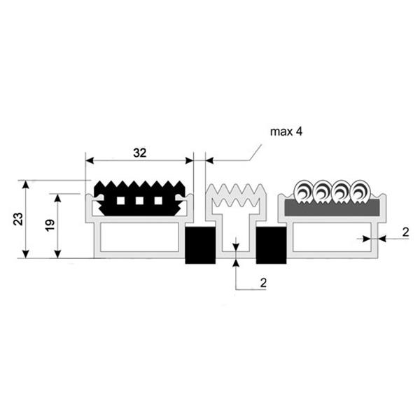 Придверная грязезащитная решетка Макс Резина + Текстиль + Скребок