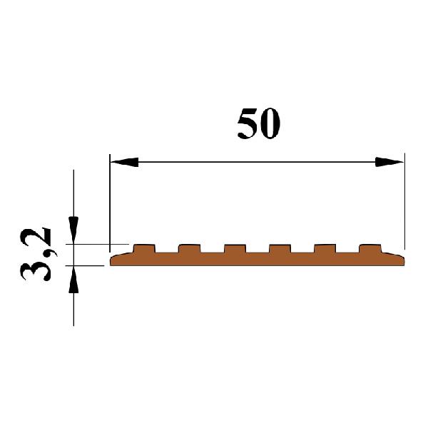 Противоскользящая тактильная направляющая самоклеющаяся полоса 50 мм серый