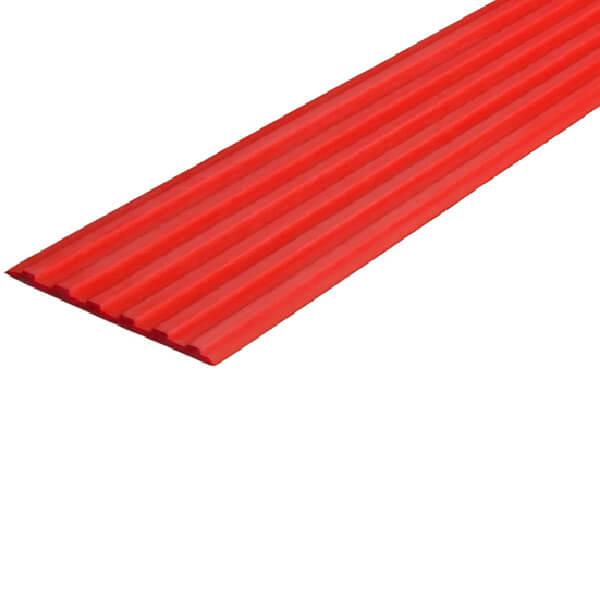 Противоскользящая тактильная направляющая самоклеющаяся полоса 50 мм красный