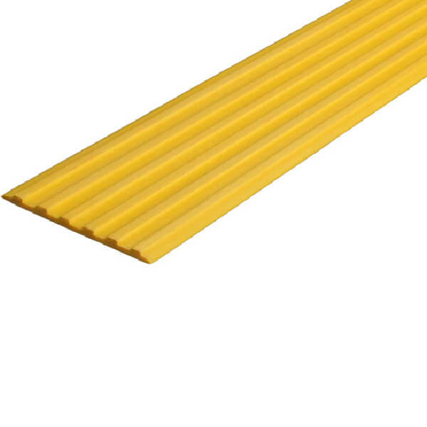 Противоскользящая тактильная направляющая самоклеющаяся полоса 50 мм желтый