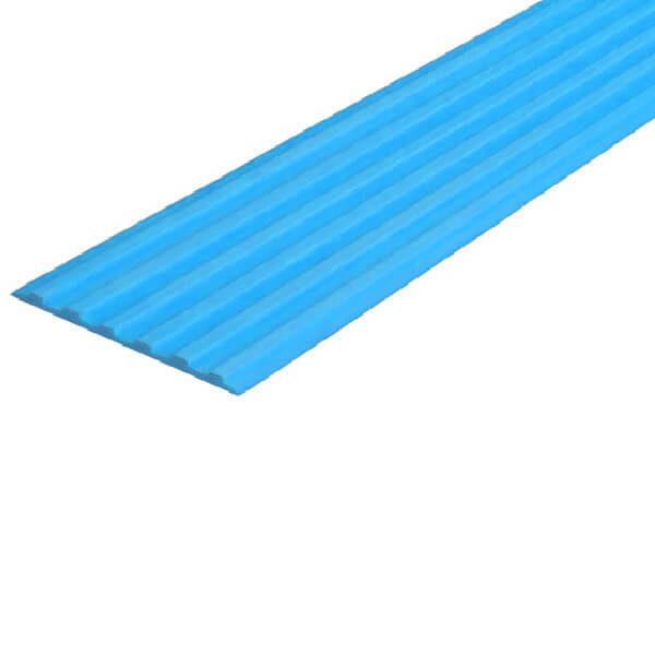 Противоскользящая тактильная направляющая самоклеющаяся полоса 50 мм голубой