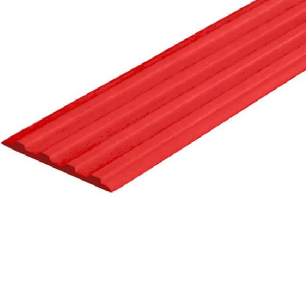 Противоскользящая тактильная направляющая самоклеющаяся полоса 29 мм красный
