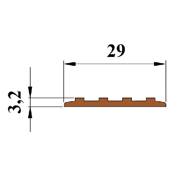 Противоскользящая тактильная направляющая самоклеющаяся полоса 29 мм коричневый