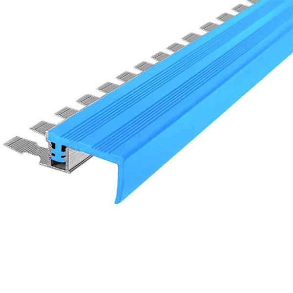 Закладной противоскользящий алюминиевый профиль FlexStep 2,7 м 25 мм/18 мм голубой