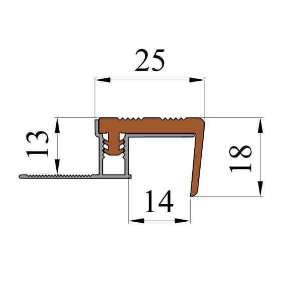 Закладной противоскользящий алюминиевый профиль FlexStep 2,7 м 25 мм/18 мм оранжевый
