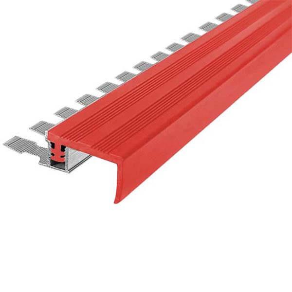Закладной противоскользящий алюминиевый профиль FlexStep 2,7 м 25 мм/18 мм красный