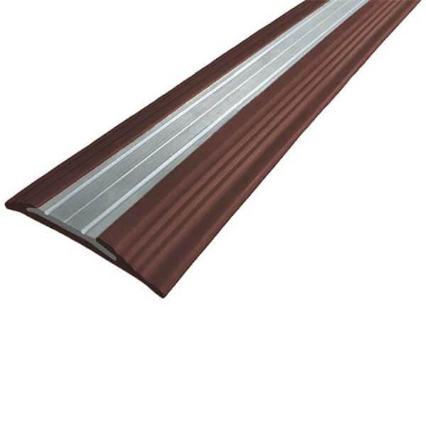 Противоскользящая анодированная алюминиевая полоса NoSlipper 2,7 м темно-коричневый