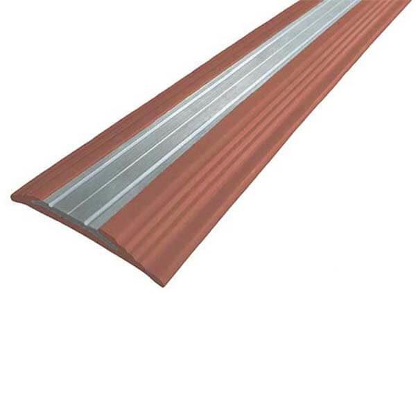 Противоскользящая анодированная алюминиевая полоса NoSlipper 2,7 м коричневый