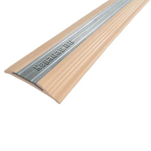 Противоскользящая анодированная алюминиевая полоса NoSlipper 2,7 м бежевый