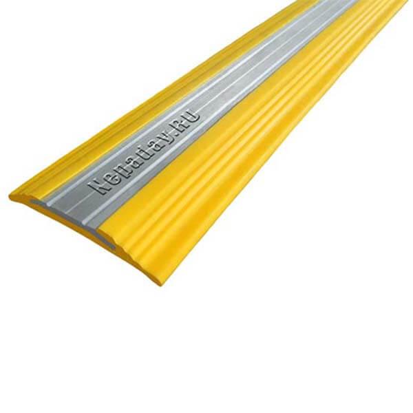 Противоскользящая анодированная алюминиевая полоса NoSlipper 2,7 м желтый