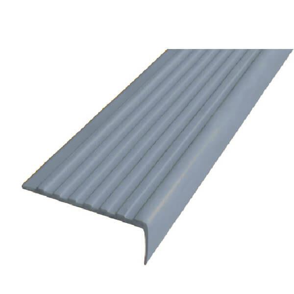 Противоскользящий угол для ступеней 55х17мм самоклеющийся, серый, 12,5м