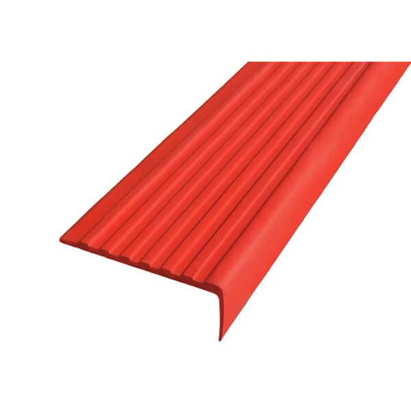 Противоскользящий угол для ступеней 55х17мм самоклеющийся, красный, 12,5м