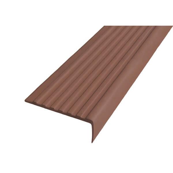 Противоскользящий угол для ступеней 55х17мм самоклеющийся, коричневый, 12,5м