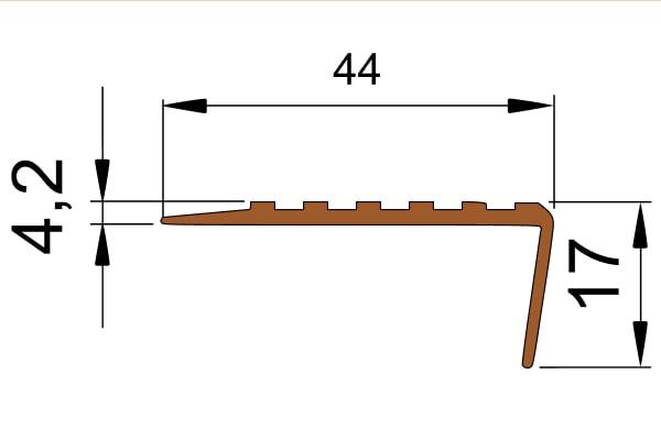Противоскользящий угол для ступеней 44х17мм самоклеющийся, коричневый, 12,5м