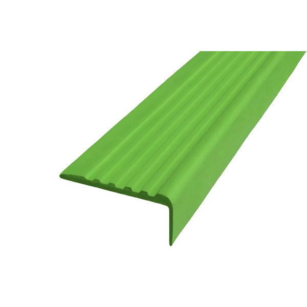 Противоскользящий угол для ступеней 44х17мм самоклеющийся, зеленый, 12,5м