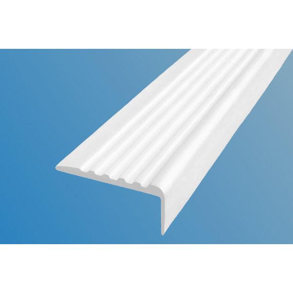 Противоскользящий угол для ступеней 44х17мм самоклеющийся, белый, 12,5м