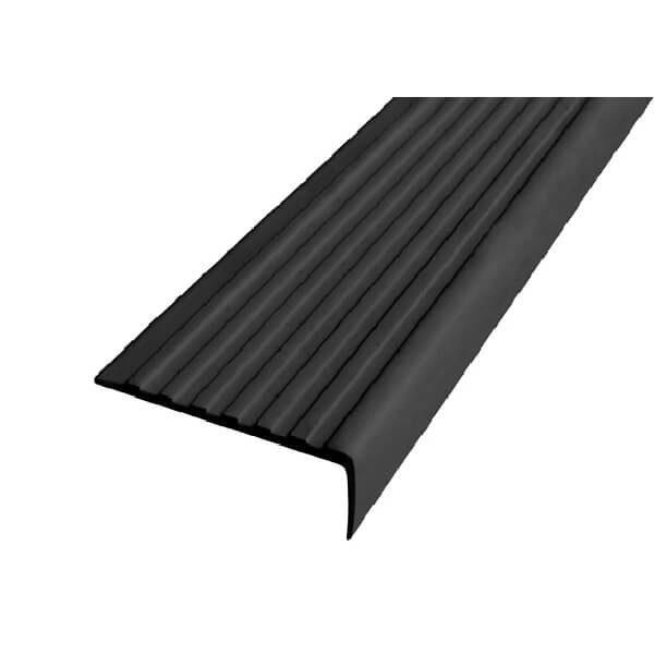 Противоскользящий угол для ступеней 55х17мм без клеевого слоя, черный, 12,5м