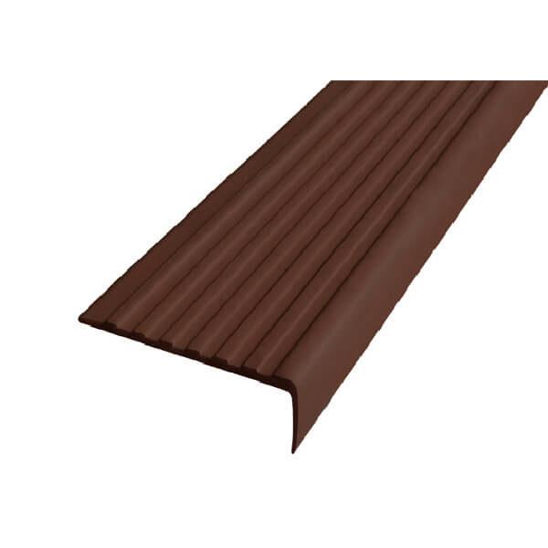 Противоскользящий угол для ступеней 55х17мм без клеевого слоя, темно-коричневый, 12,5м