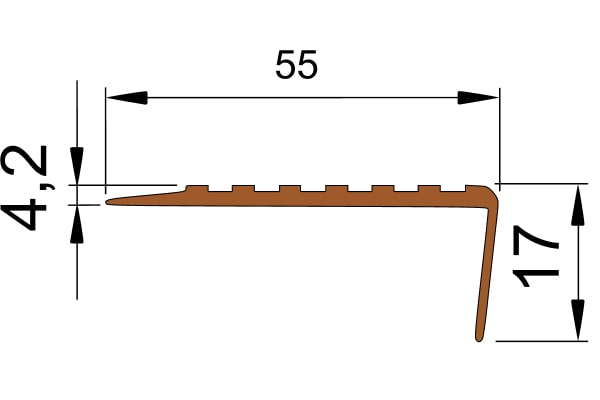 Противоскользящий угол для ступеней 55х17мм без клеевого слоя, коричневый, 12,5м