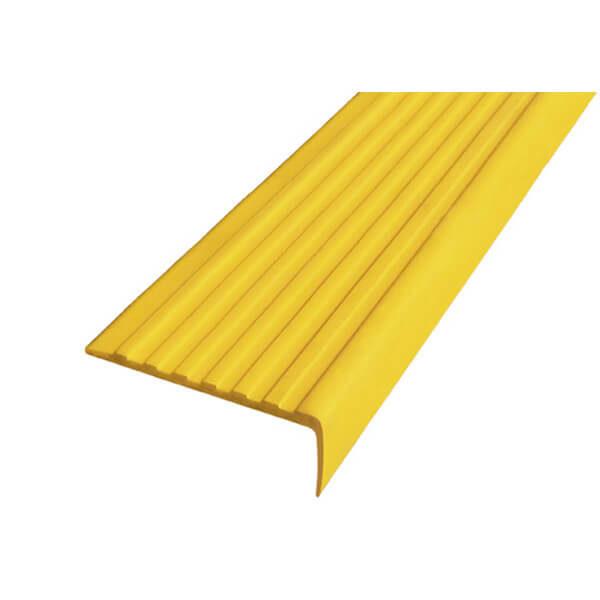 Противоскользящий угол для ступеней 55х17мм без клеевого слоя, желтый, 12,5м