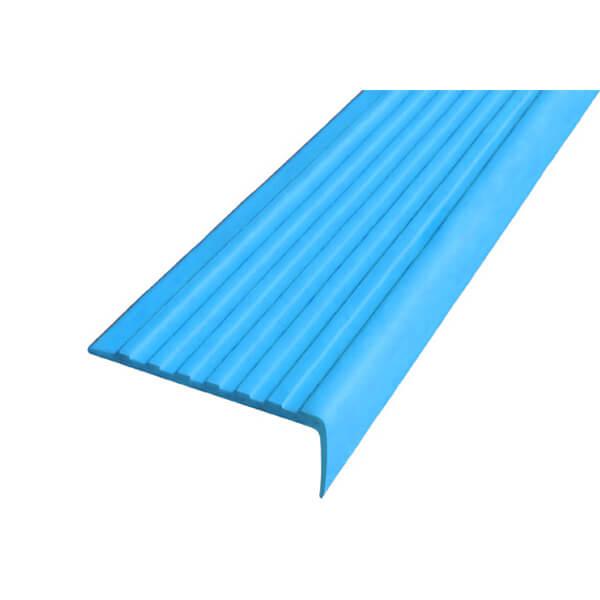 Противоскользящий угол для ступеней 55х17мм без клеевого слоя, голубой, 12,5м