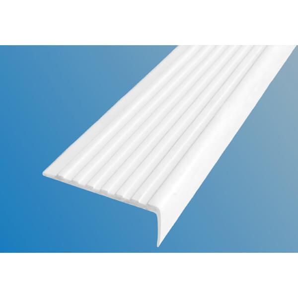 Противоскользящий угол для ступеней 55 мм без клеевого слоя, белый