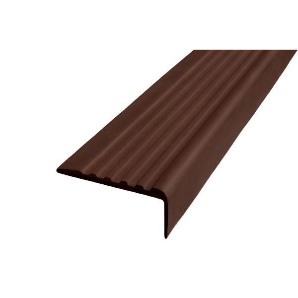 Противоскользящий угол для ступеней 44 мм без клеевого слоя, темно-коричневый