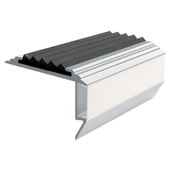 Противоскользящий алюминиевый анодированный угол-порог GlowStep-45 2,0 м черный, профиль черный