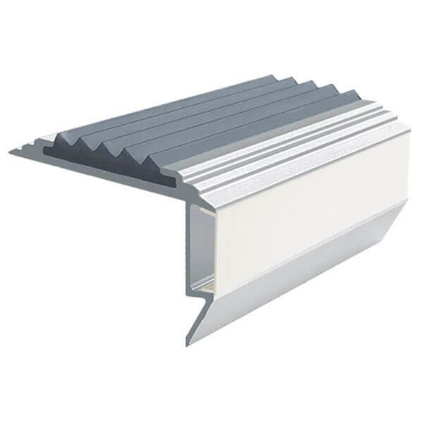Противоскользящий алюминиевый анодированный угол-порог GlowStep-45 1,0 м серый, профиль черный
