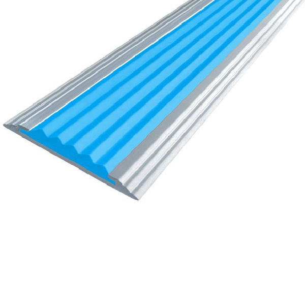 Противоскользящая анодированная алюминиевая полоса Стандарт 2,7 м голубой