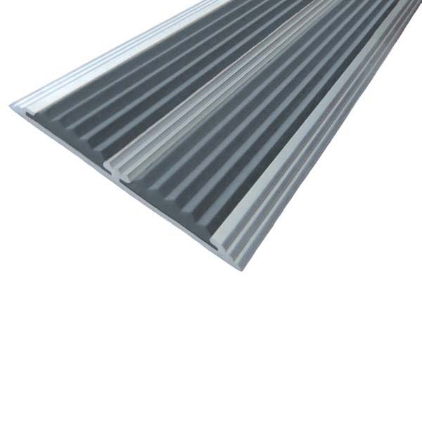 Противоскользящая анодированная полоса с двумя вставками против скольжения 2,0 м серый