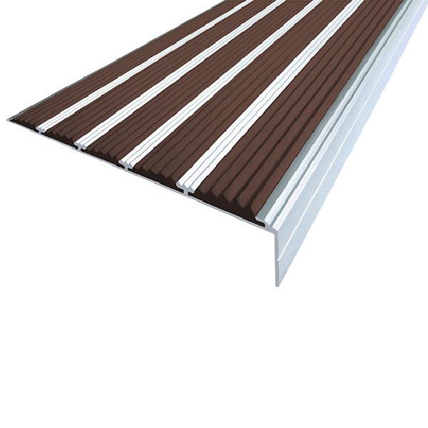 Противоскользящий алюминиевый угол с пятью вставками 160 мм/6 мм/30 мм 3,0 м темно-коричневый
