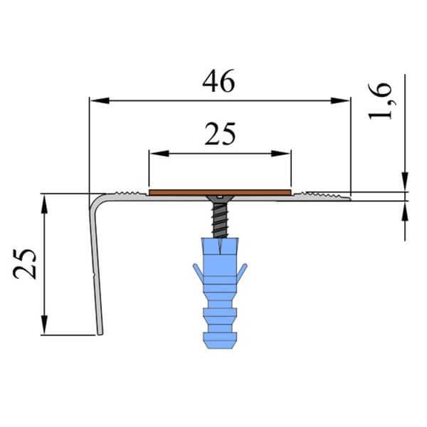 Анодированный угол-порог 1,5 м, 46 мм/25 мм под абразивную ленту 25 мм
