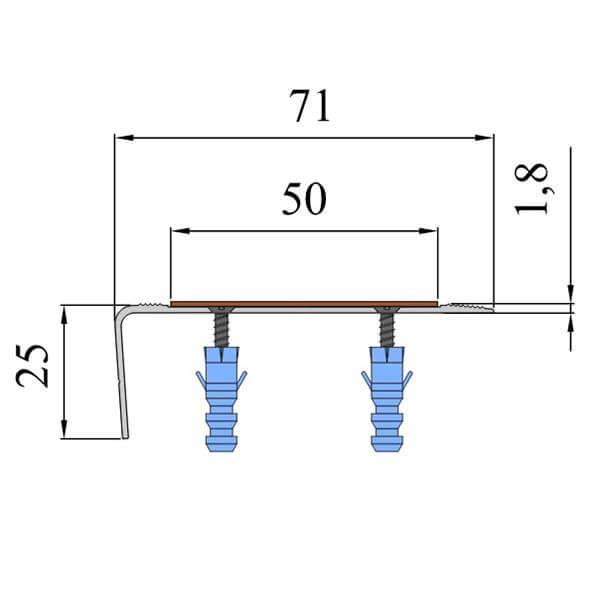 Анодированный угол-порог 1,5 м, 72 мм/25 мм под абразивную ленту 25/50 мм