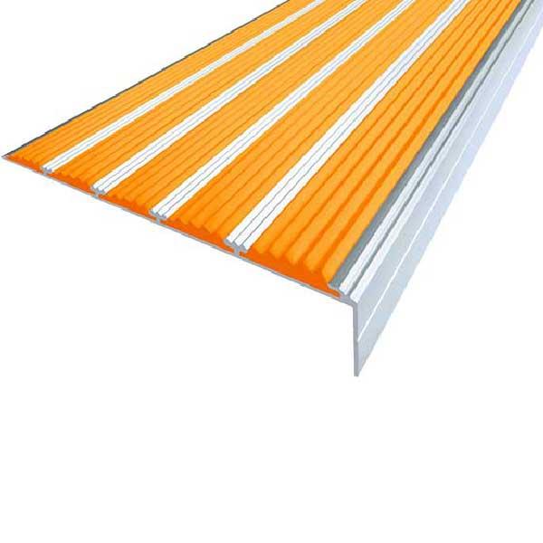 Противоскользящий алюминиевый угол с пятью вставками 160 мм/6 мм/30 мм 3,0 м оранжевый