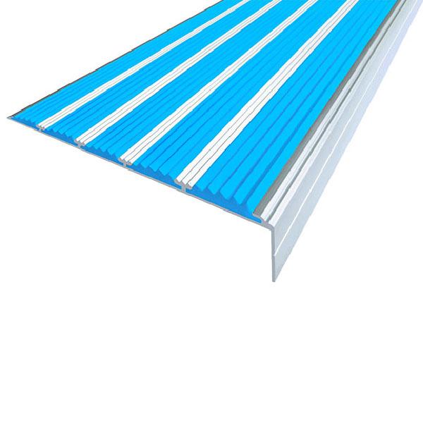 Противоскользящий алюминиевый угол с пятью вставками 160 мм/6 мм/30 мм 3,0 м голубой