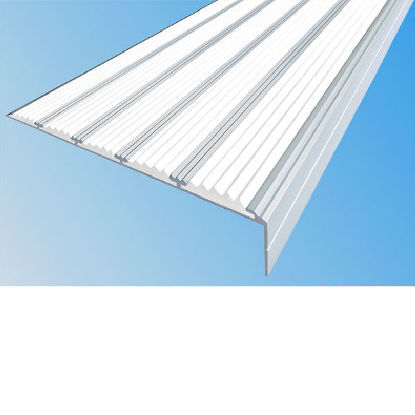 Противоскользящий алюминиевый угол с пятью вставками 160 мм/6 мм/30 мм 3,0 м белый