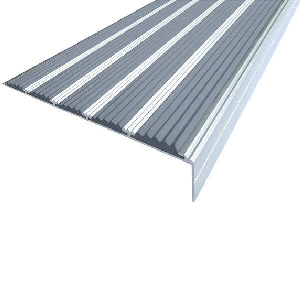 Противоскользящий алюминиевый угол с пятью вставками 160 мм/6 мм/30 мм 2,0 м серый