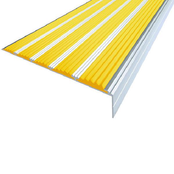 Противоскользящий алюминиевый угол с пятью вставками 160 мм/6 мм/30 мм 2,0 м желтый