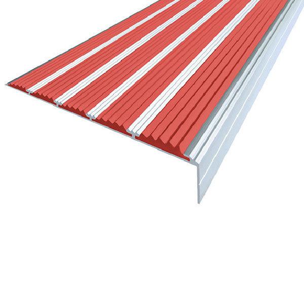 Противоскользящий алюминиевый угол с пятью вставками 160 мм/6 мм/30 мм 1,33 м красный