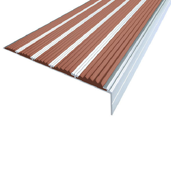Противоскользящий алюминиевый угол с пятью вставками 160 мм/6 мм/30 мм 1,33 м коричневый