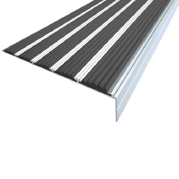 Противоскользящий алюминиевый угол с пятью вставками 160 мм/6 мм/30 мм 1,0 м черный