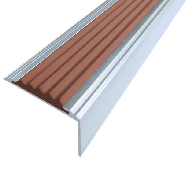 Противоскользящий анодированный алюминиевый угол Стандарт 2,7 м коричневый