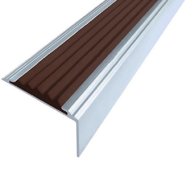 Противоскользящий алюминиевый самоклеющийся угол-порог Стандарт 38 мм 2,7 м темно-коричневый