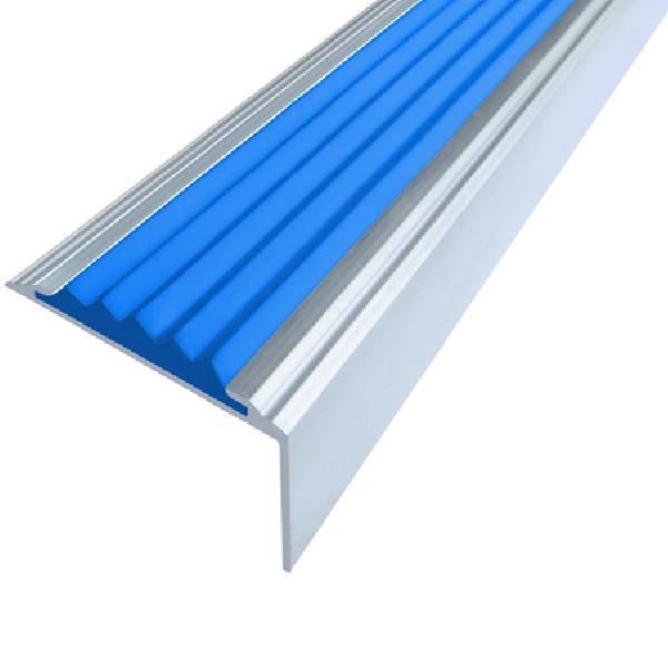 Противоскользящий алюминиевый самоклеющийся угол-порог Стандарт 38 мм 2,7 м синий