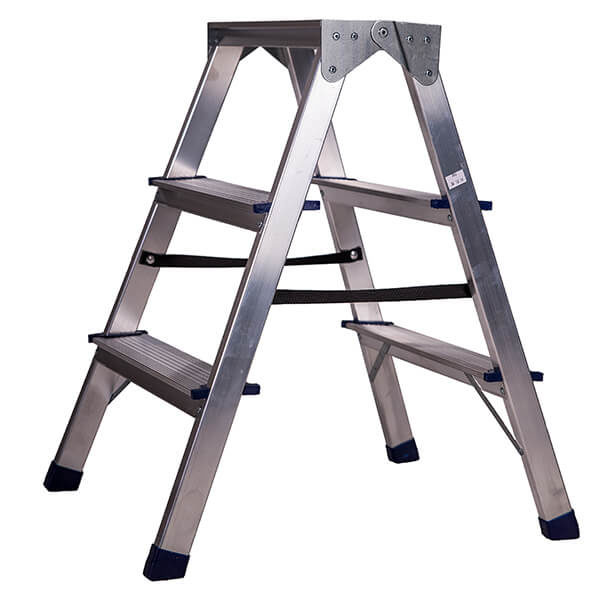 Стремянка алюминиевая двухсторонняя 3 ступени
