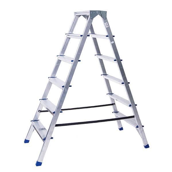 Стремянка алюминиевая двухсторонняя 6 ступеней