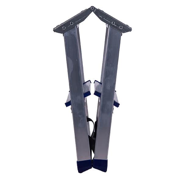 Стремянка алюминиевая двухсторонняя с мини-платформой 2 ступени