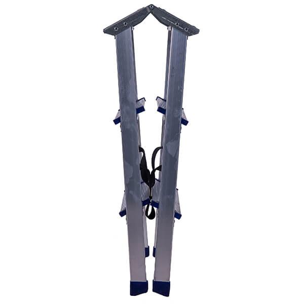 Стремянка алюминиевая двухсторонняя с мини-платформой 3 ступени