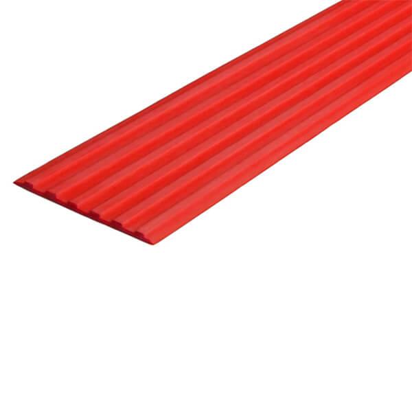 Противоскользящая тактильная направляющая самоклеющаяся полоса 40 мм красный